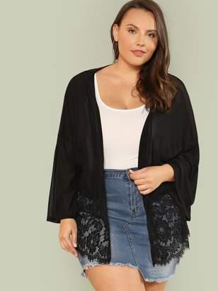 Shein Plus Lace Hem Sheer Kimono