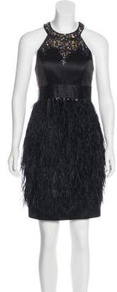 Sue Wong Silk and Ostrich Feather Dress