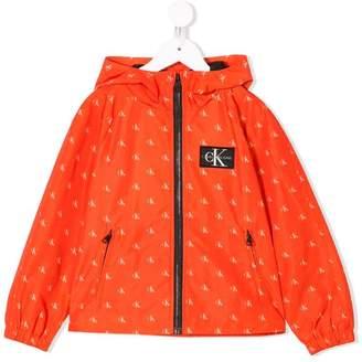 Calvin Klein Kids logo print cagoule jacket