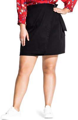 City Chic Cargo Pocket Cotton Miniskirt