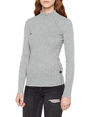 G Star Women's Xinva Slim Funnel T Wmn L/s Long Sleeve Top, (Dk Black HTR 7293)