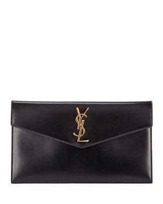 Saint Laurent Uptown Medium Monogram Leather Pouch Clutch Bag