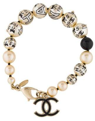 Chanel Embellished Painted Faux Pearl Bracelet