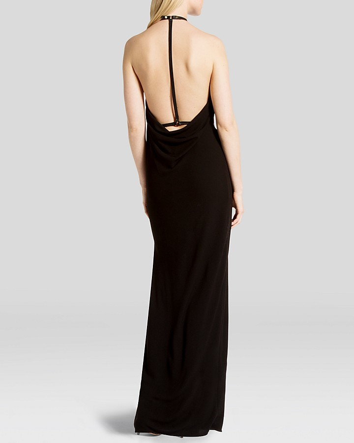 Halston Gown - Sleeveless Gathered Neck Drape Back