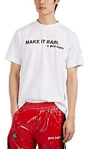 "Palm Angels 8 MONCLER Men's ""Make It Rain"" Cotton T-Shirt - White"