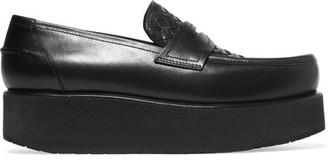 Bottega Veneta - Intrecciato Leather Platform Loafers - Black $780 thestylecure.com