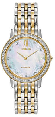Citizen Eco-Drive Silhouette Crystal Mother-of-Pearl Two-Tone Bracelet Watch