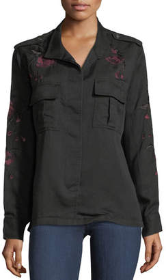 Rails Elliot Button-Front Shirt with Floral-Embroidery