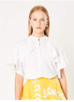 Oscar de la Renta Ruffle Stretch-Cotton Poplin Blouse