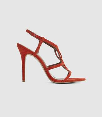 Reiss Pina - Knot Detail Sandals in Red