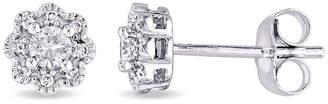 Laura Ashley FINE JEWELRY 1/4 CT. T.W. Genuine White Diamond 10K Gold 6mm Stud Earrings