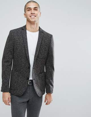 Asos Skinny Blazer In Charcoal Textured Jersey