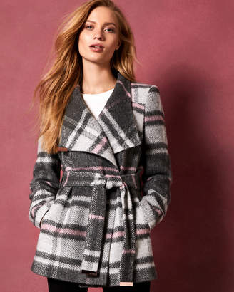 Ted Baker FREDDE Short check wool wrap coat