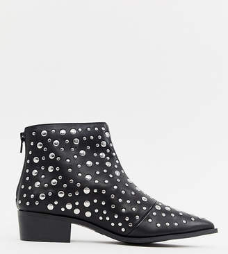 London Rebel Pointed Stud Ankle Boots