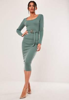 Missguided Teal Rib Scoop Neck Belted Midi Dress