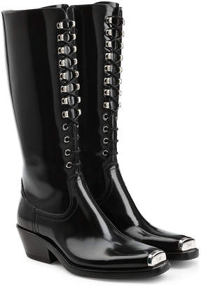 Calvin Klein Western Faye Leather Knee Boots