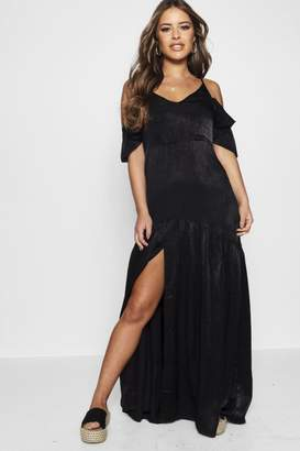 boohoo Petite Satin Cold Shoulder Split Maxi Dress