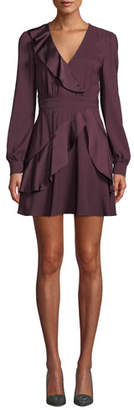 Parker Nancy Long-Sleeve Ruffle Combo Mini Dress