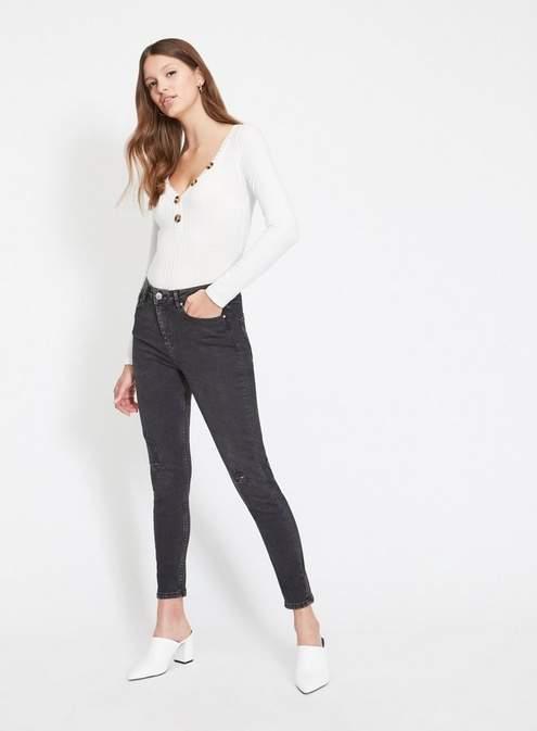 Lizzie high waist super skinny black ripped knee jeans