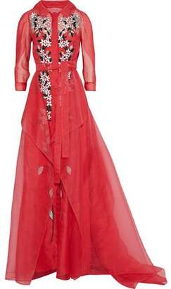 Carolina Herrera Embroidered Draped Silk-Organza Gown