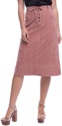 Endless Rose Lace-Up Faux-Suede Skirt