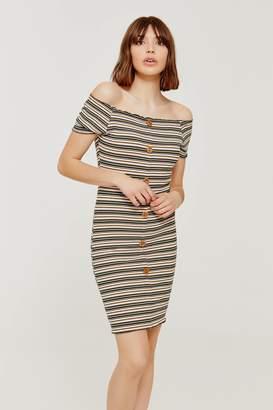 Ardene Striped Off Shoulder Buttoned Dress