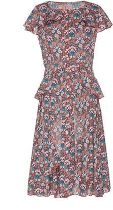 Zac Posen Fitted Print Cotton Midi Dress