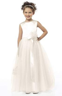 Dessy Collection Sleeveless Satin & Tulle Flower Girl Dress