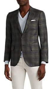 Isaia Men's Sanita Plaid Wool-Blend Two-Button Sportcoat - Gray