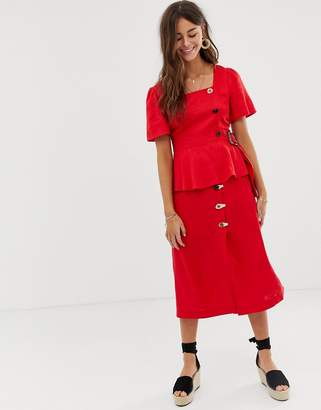 Moon River midi skirt with button detail