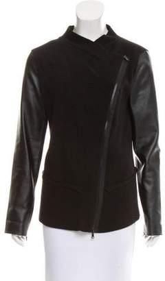 Robert Rodriguez Vegan Leather-Accented Zip-Up Jacket