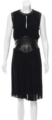 L'Agence Leather Trimmed Sleeveless Dress
