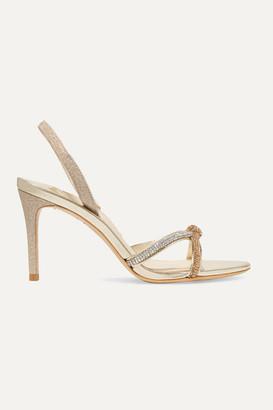 Sophia Webster Giovanna Crystal-embellished Glittered Leather Slingback Sandals - Gold