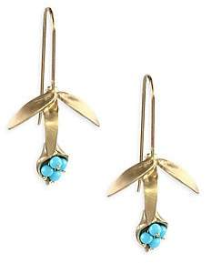 Annette Ferdinandsen Turquoise& 14K Gold Wildflower Earrings