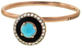 Selim Mouzannar Round Turquoise, Black Enamel And Diamond Ring