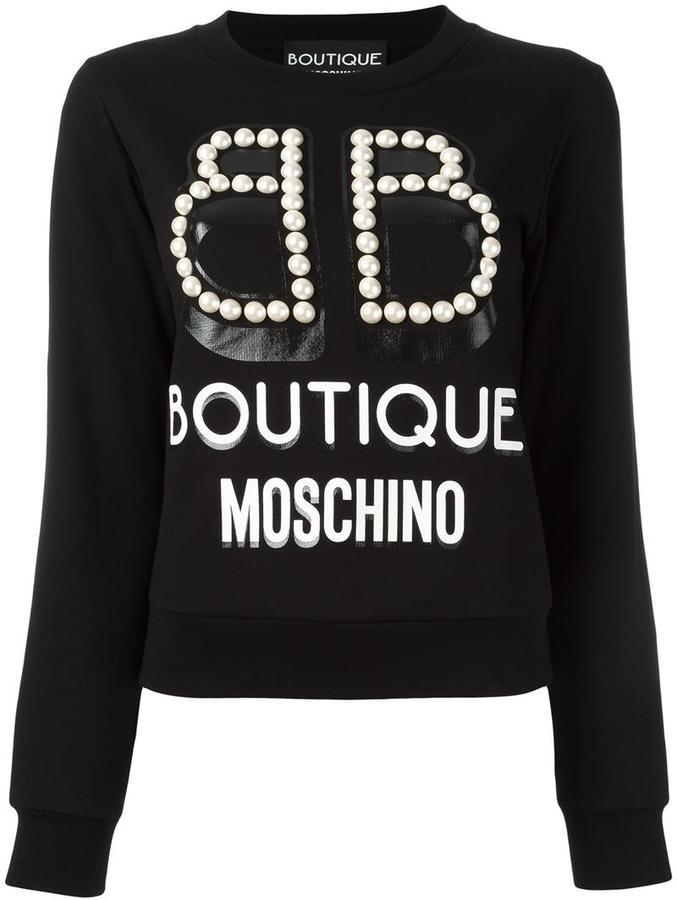 MoschinoBoutique Moschino studded trim logo print sweatshirt