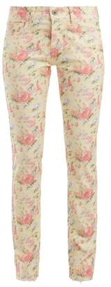 Junya Watanabe - Floral Print Cotton Blend Jeans - Womens - Cream Multi