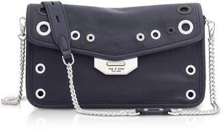 Rag & Bone Navy Blue Leather Grommet Field Clutch
