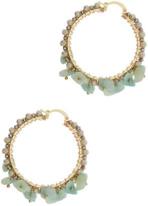 Saachi Beachy Stone & Beaded Accented Hoop Earring