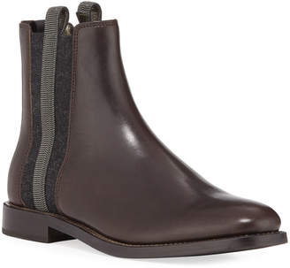 Brunello Cucinelli Chelsea Leather Cashmere Riding Booties