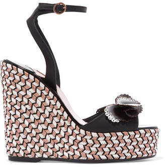 Sophia Webster Soleil Lucita Leather Espadrille Wedge Sandals - Black