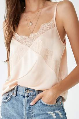 Forever 21 Satin Lace-Trim Cami
