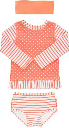 RuffleButts Coral Two-Piece Rashguard Swimsuit & Head Wrap Set