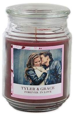 Sweethearts Photo Scented Glass Candle Jar