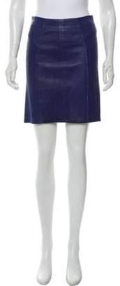 Marc Jacobs Leather Mini Skirt Blue Leather Mini Skirt