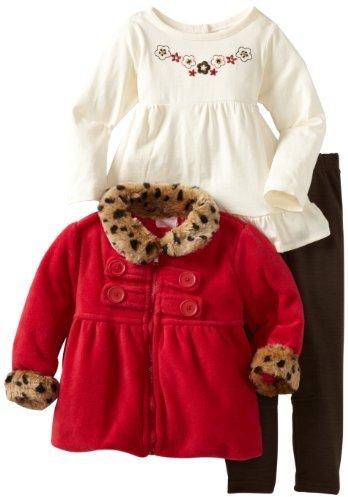 Nannette Girls 2-6X 3 Piece Trimmed Leopard Jacket Set