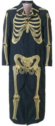 Thom Browne Gold Skeleton-Embroidered Ankle-length Solid Enshuku Nylon Bal Collar Overcoat