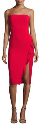 Jay Godfrey Memphis Strapless Cocktail Dress w/ Ruffled Slit, Red