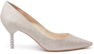 Sophia Webster 'Coco' crystal pavê bead heel glitter pumps