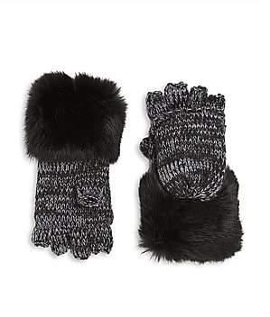 Surell Rabbit Fur Cuff Convertible Mittens